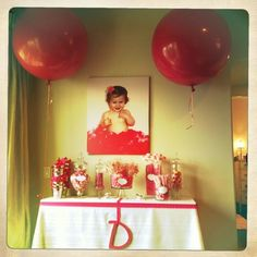 Baby Girl's 1st Birthday Candy Table I like the canvas print above the take
