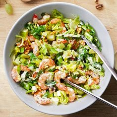 3 Easy Seafood Recipes from MasterChef Judges Gordon Ramsay's Shrimp Waldorf Salad Shrimp Salad Recipes, Side Salad Recipes, Salad Recipes Video, Healthy Salad Recipes, Seafood Recipes, Salad With Shrimp, Seafood Meals, Vegetarian Recipes, Dinner Recipes