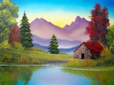 A Beautiful Bob Ross painting. Landscape Art, Landscape Paintings, Bob Ross Art, Bob Ross Paintings, Beautiful Paintings, Painting Inspiration, Painting & Drawing, Watercolor Paintings, Art Drawings