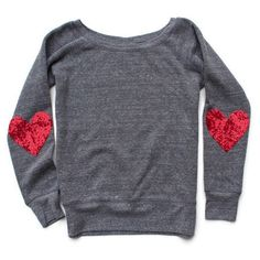 Valentines Day Shirt Sequin Sparkly Elbow Patch Sweatshirt Jumper... ($55) ❤ liked on Polyvore featuring tops, hoodies, sweatshirts, grey, women's clothing, sequin top, gray shirt, grey shirt, gray sweatshirt and checked shirt
