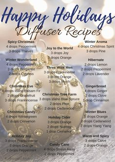 Ditch those candles and pull out that diffuser for some Happy Holidays Diffuser Recipes! #essentialoils