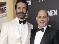 Jon Hamm and Matthew Weiner arrive at AMC's Black & Red Ball to celebrate the final episodes of Mad Men. | npr : 'Mad Men' Creator On Don Draper's Losses And The End Of The Road
