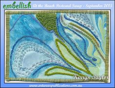 """""""Tidal Pool""""- Hand marbled cotton fabric, Elizabethan chain stitch, runing stitch, long and short stitch, beading."""