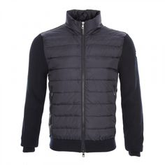 Moncler Down Quilted Front Ribbed Jacket in Navy | at Aphrodite Clothing UK