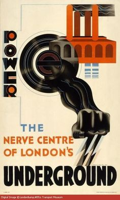 Poster by E.McKnight Kauffer, London Underground had their own power station at Lots Road, Chelsea. It opened in London Underground, Underground Tube, Train Posters, Railway Posters, Tube Train, Laszlo Moholy Nagy, London Transport Museum, Vintage Art Prints, Vintage London