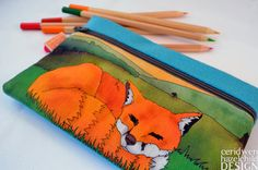 Sleeping Fox Illustration Linen Zipper Pencil Pouch by Ceridwen Hazelchild Design on etsy
