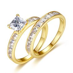 Gold Plated Sterling Silver Cubic Zirconia 1.25ct Princess Cut Women's Wedding Engagement Bridal Ring Set    More wedding rings at: www.devuggo.com