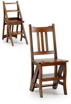 Silla convertible en escalera, muy práctica, en madera maciza y diseño exclusivo.  http://www.elguardabosques.com