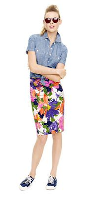 J.Crew Floral Pencil Skirt