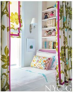 Found on cottages-gardens.com. Raoul Textiles pillow... Good use of curtains and shade fabric. Like  bookshelves and very SKINNY closet concealed at other end.