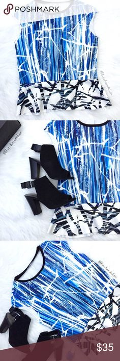 """new   zara   graphic peplum top Graphic pattern peplum top by Zara   ▫️Neoprene-like feel, raw cut bottom hem and armholes ▫️Excellent Condition ▫️Size Medium {runs small} ▫️Approx flat measurements: Bust  17.5""""   Waist 15""""   Length down center back 22""""   •Please ask all questions before purchasing.  •No Trades/Modeling/Low-Balling •All Reasonable Offers Considered •15% Disc on 3+ Item Bundles Zara Tops"""