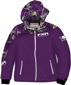 WANT!! FXR Racing - Snowmobile Gear - Women's Vertical Lite Softshell Hoodie - Purple/Realtree™AP Purple