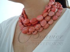 Palau necklace  Pink Coral nugget necklace  by BouvierJewelry, $160.00