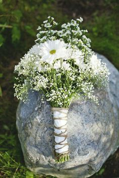 Rustic/Boho/Country/Shabby Chic Hand Tied Wedding Bouquet Arranged With: White/Green Daisies (Chrysanthemums), White Gypsophila (Baby's Breath) + White Asters