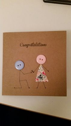 Engaged Wedding Cards Handmade, Handmade Gift Tags, Cute Cards, Diy Cards, Homemade Cards, Homemade Wedding Cards, Birthday Card Drawing, Button Cards, Engagement Cards