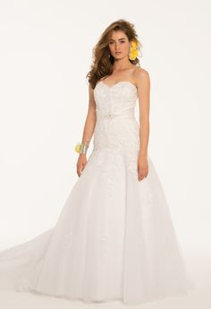 Camille La Vie Satin Beaded Motif Wedding Dress Bridal Gown     #weddingdresses #bridalgowns #weddings