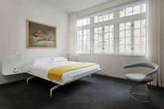 Modern Greenwich Village townhouse bedroom.