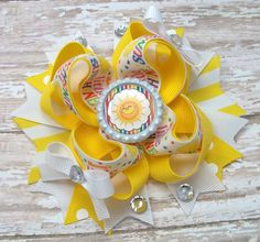 Mommies Little Sunshine Hair Bow  Cute by JustinesBoutiqueBows
