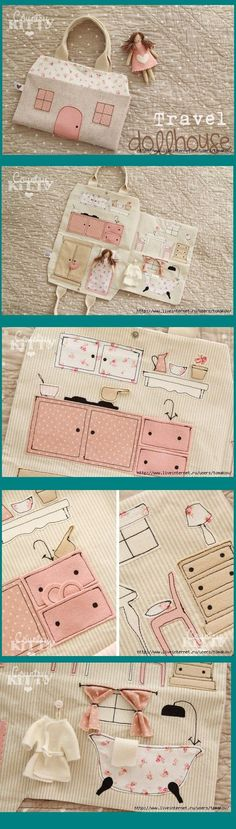 Fabric travel dollhouse- could be used in a quiet book Sewing Toys, Sewing Crafts, Sewing Projects, Sewing Hacks, Fabric Dolls, Paper Dolls, Fabric Doll Pattern, Sewing For Kids, Diy For Kids