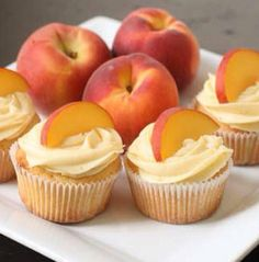 Peach cupcakes with peach cream cheese frosting. I need to make these before summer is gone. Peach Cupcakes With Peach Cream Cheese Frosting: Makes 24 cupcakes The perfect thing to eat with your fingers, and perfectly summery. Köstliche Desserts, Delicious Desserts, Dessert Recipes, Yummy Food, Summer Cupcake Recipes, Recipes Dinner, Dessert Healthy, Summer Recipes, Food Cakes