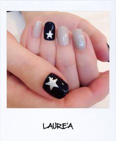LAURE'A 星☆ネイル Star Nail Art, Star Nails, Mani Pedi, Manicure And Pedicure, Bling Nails, My Nails, Crazy Nails, Cool Nail Designs, Winter Nails
