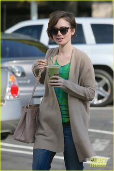 Lily Collins Grabs A Green Smoothie To Go After Debuting Pixie Cut