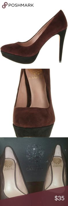 """Vince Camuto size 7 heel VC-Ritz, Vince Camuto heels, size 7M. Worn 1 time for a short while. In great condition. Leather, Imported, Synthetic sole, Heel measures approximately 4.75"""", Platform measures approximately 1"""", Molten / Black, True Suede. Vince Camuto Shoes Heels"""