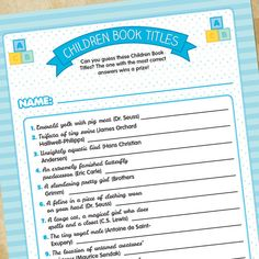 Baby Shower Game - Children Book Titles - For Boys