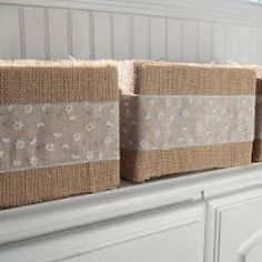 burlap (or any fabric) covered boxes - great cheap alternative to expensive baskets!