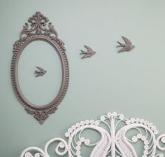 Ornate grey oval frame with sparrows by johnnyvintage