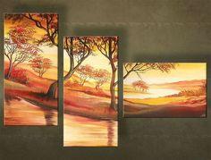 Ručne maľovaný obraz KRAJINA 3 dielny 4005FA