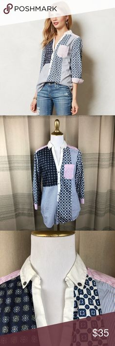 Anthropologie HD In Paris Patchworked Popover Adorable patchwork popover top from Anthropologie brand HD in Paris. Size US 6. Best fits a small. Good pre worn condition! No trades or try ons please Anthropologie Tops