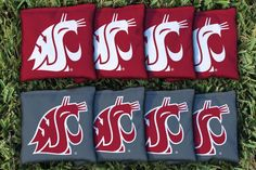 The Washington State WSU Cougars Replacement Cornhole Bag Set (corn filled) - 8 quality Washington State Cougars cornhole regulation bags, corn filled and made of quality duck cloth material measuring