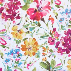 A completely gorgeous watercolor floral fabric. The colors are deep orchid and fuchsia pink, honey gold, teal and grass green, lavender and pacific blue, carrot