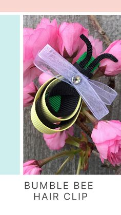 This easy and fun DIY to make with the kids is a perfect craft to do at home! Try this ribbon craft Bumble Bee hair clip just in time for spring! See the full tutorial on our website. Offray.com  #diyribboncraft #springcrafts #kidscraft #kidshairdos #kidshair #kidshairclips
