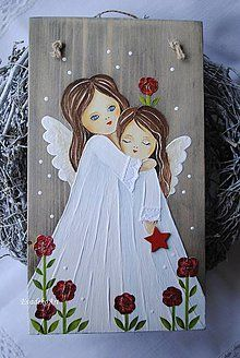 Easy Canvas Painting, Tole Painting, Painting On Wood, Canvas Art, Christmas Angels, Christmas Art, Angel Artwork, Angel Paintings, Angel Drawing