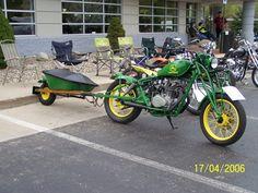 john deere bike and motorcycle trailer Pull Behind Motorcycle Trailer, Pull Behind Trailer, John Deere Toys, John Deere Tractors, Green Motorcycle, Motorcycle Bike, Custom Trailers, Vintage Trailers, Atv Trailers
