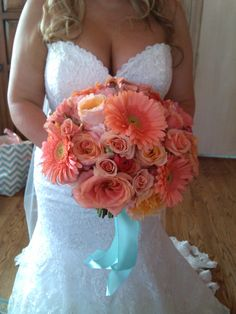 #coralflowers Bridal bouquet of roses, garden roses, gerbers