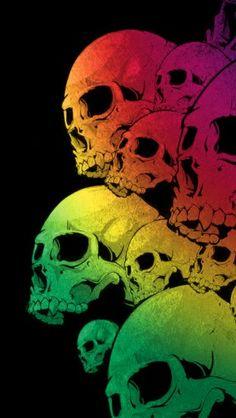 Skulls Colorful Black Background - theiphonewalls.com