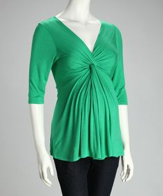 Loving this Green Knot-Front Maternity Top on #zulily! #zulilyfinds
