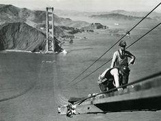 Golden Gate Bridge construction workers