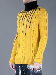 DEAD MEAT - dripping paint cable knit sweater 3