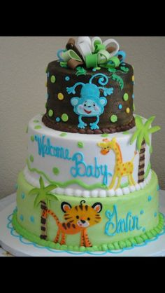 Animal baby shower decorations jungle safari baby shower decorations by shower jungle theme cake jungle safari Torta Baby Shower, Safari Baby Shower Cake, Baby Shower Fun, Baby Shower Parties, Baby Shower Themes, Baby Showers, Shower Ideas, Baby Boy Cakes, Cakes For Boys