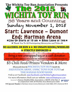 36th Annual Wichita Toy Run | Sunday, November 1st 2015 The Toy Run will start at Lawrence-Dumont Stadium and will end at Hartman Arena.  The Parade leaves Lawerence-Dumont Stadium at 1 pm.