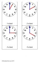 Free Montessori cards for teaching the time - o'clock on an analogue clock face