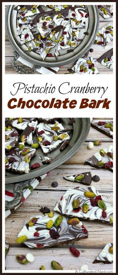 Some bark recipes require a lot of ingredients and careful melting. Not this one! This pistachio cranberry chocolate bark is quick, easy, and so delicious! | no-bake recipe, easy dessert, holiday dessert recipe