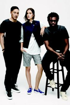 Dao-Yi Chow and Maxwell Osbourne with a model wearing their look for the J.Crew capsule collection. [Courtesy Photo]