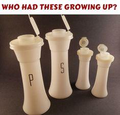 mom used them for picnics----SALE Vintage Salt & Pepper Shakers Tupperware… My Childhood Memories, Sweet Memories, Magic Memories, Childhood Toys, Retro, Instruments, Vintage Tupperware, Vintage Kitchenware, Oldies But Goodies