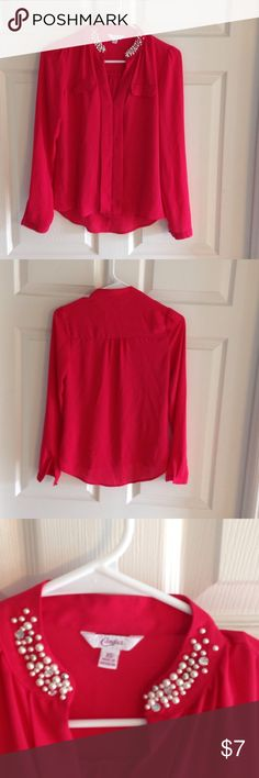 Pink blouse Dark pink work blouse. Super cute! (Not made for large breasts) size small Candie's Tops Blouses