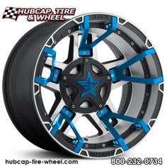 KMC XD Series XD827 Black Machined w/ Blue Split Spoke Inserts & Blue Star Center Cap Wheels Rims